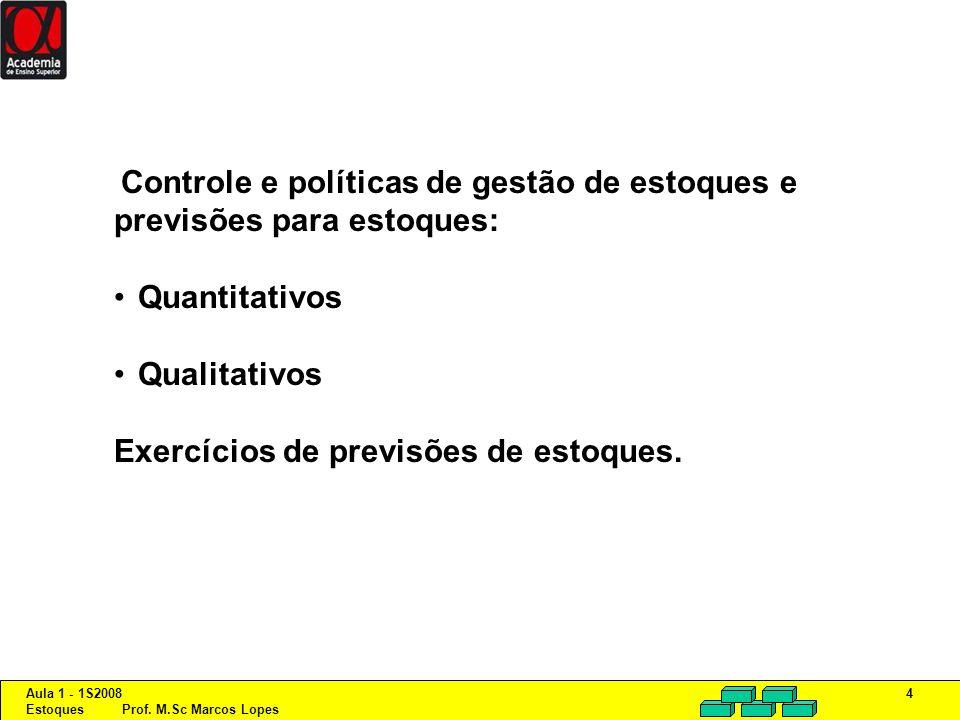Aula 1 - 1S2008 Estoques Prof. M.Sc Marcos Lopes 4 Controle e políticas de gestão de estoques e previsões para estoques: Quantitativos Qualitativos Ex