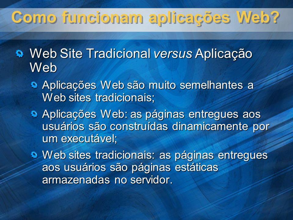 Web Site Tradicional versus Aplicação Web Aplicações Web são muito semelhantes a Web sites tradicionais; Aplicações Web: as páginas entregues aos usuários são construídas dinamicamente por um executável; Web sites tradicionais: as páginas entregues aos usuários são páginas estáticas armazenadas no servidor.