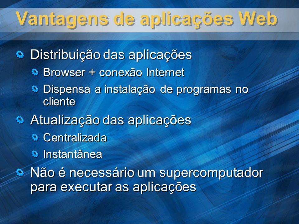 Vantagens de aplicações Web Distribuição das aplicações Browser + conexão Internet Dispensa a instalação de programas no cliente Atualização das aplicações CentralizadaInstantânea Não é necessário um supercomputador para executar as aplicações