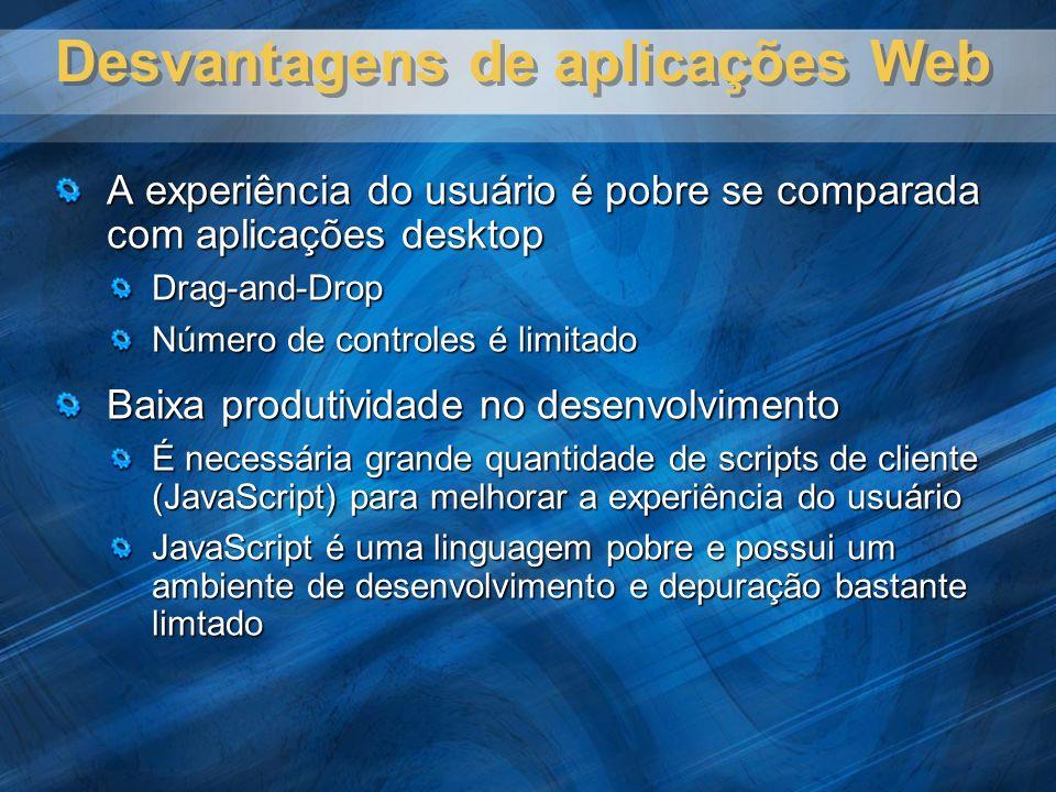 Desvantagens de aplicações Web A experiência do usuário é pobre se comparada com aplicações desktop Drag-and-Drop Número de controles é limitado Baixa