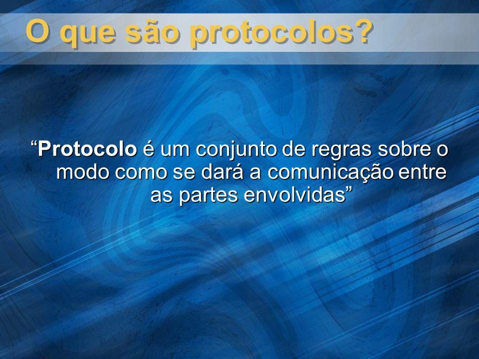 O que são protocolos? Protocolo é um conjunto de regras sobre o modo como se dará a comunicação entre as partes envolvidasProtocolo é um conjunto de r