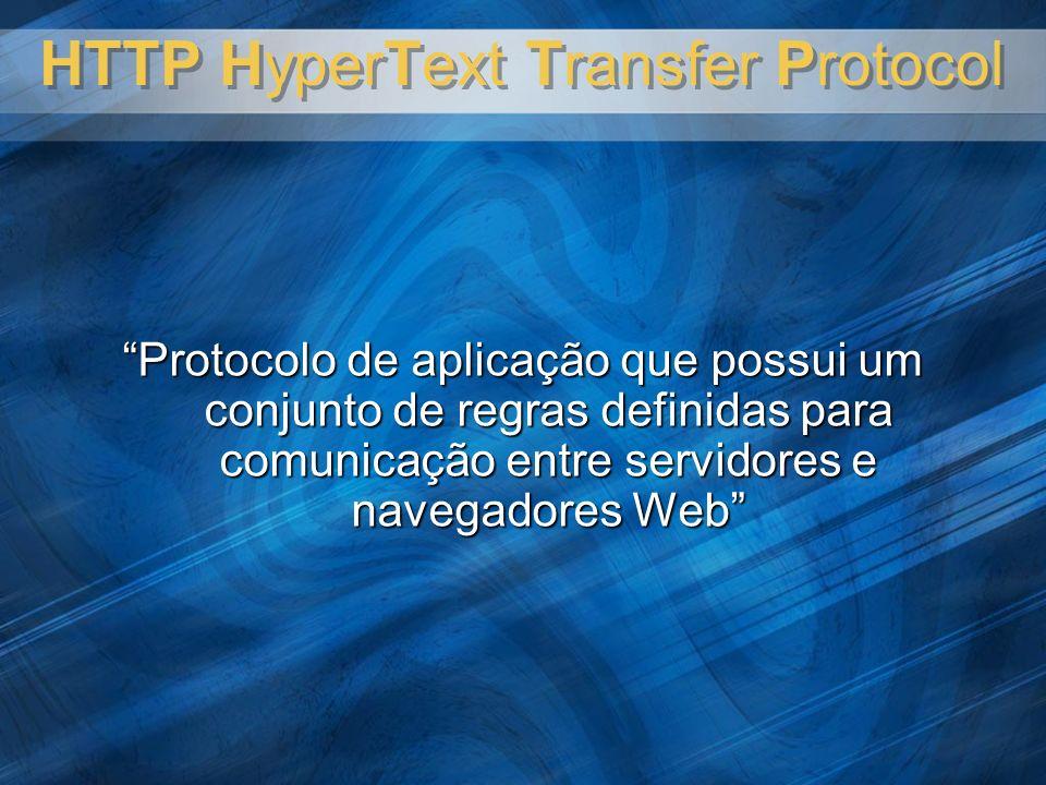 HTTP HyperText Transfer Protocol Protocolo de aplicação que possui um conjunto de regras definidas para comunicação entre servidores e navegadores Web
