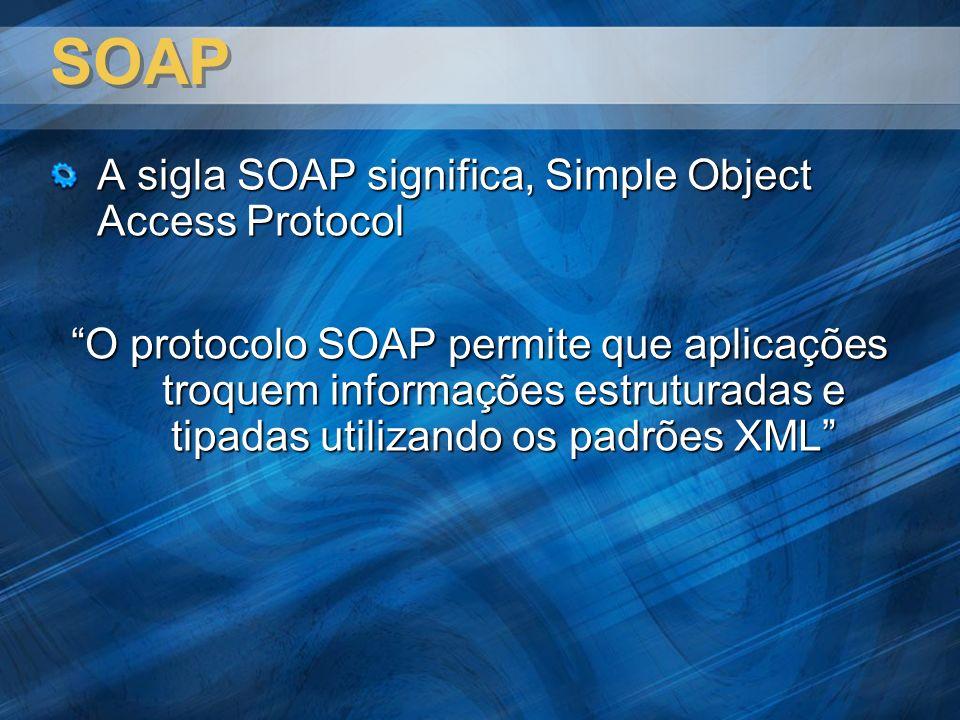 SOAP A sigla SOAP significa, Simple Object Access Protocol O protocolo SOAP permite que aplicações troquem informações estruturadas e tipadas utilizando os padrões XML