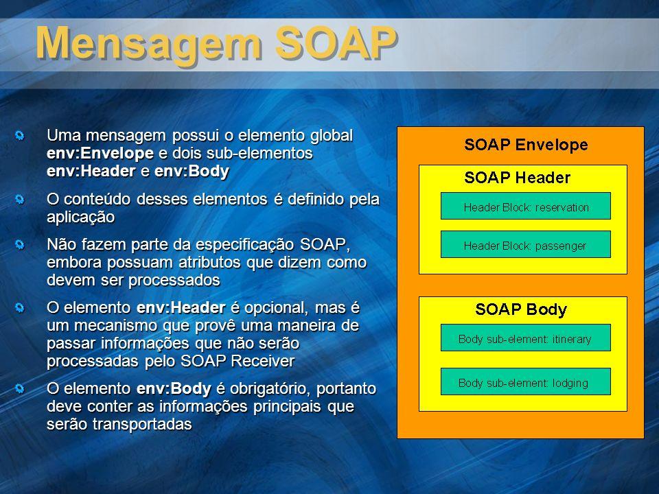 Mensagem SOAP Uma mensagem possui o elemento global env:Envelope e dois sub-elementos env:Header e env:Body O conteúdo desses elementos é definido pela aplicação Não fazem parte da especificação SOAP, embora possuam atributos que dizem como devem ser processados O elemento env:Header é opcional, mas é um mecanismo que provê uma maneira de passar informações que não serão processadas pelo SOAP Receiver O elemento env:Body é obrigatório, portanto deve conter as informações principais que serão transportadas