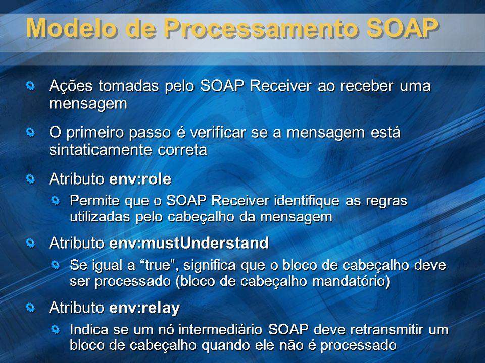 Modelo de Processamento SOAP Ações tomadas pelo SOAP Receiver ao receber uma mensagem O primeiro passo é verificar se a mensagem está sintaticamente correta Atributo env:role Permite que o SOAP Receiver identifique as regras utilizadas pelo cabeçalho da mensagem Atributo env:mustUnderstand Se igual a true, significa que o bloco de cabeçalho deve ser processado (bloco de cabeçalho mandatório) Atributo env:relay Indica se um nó intermediário SOAP deve retransmitir um bloco de cabeçalho quando ele não é processado