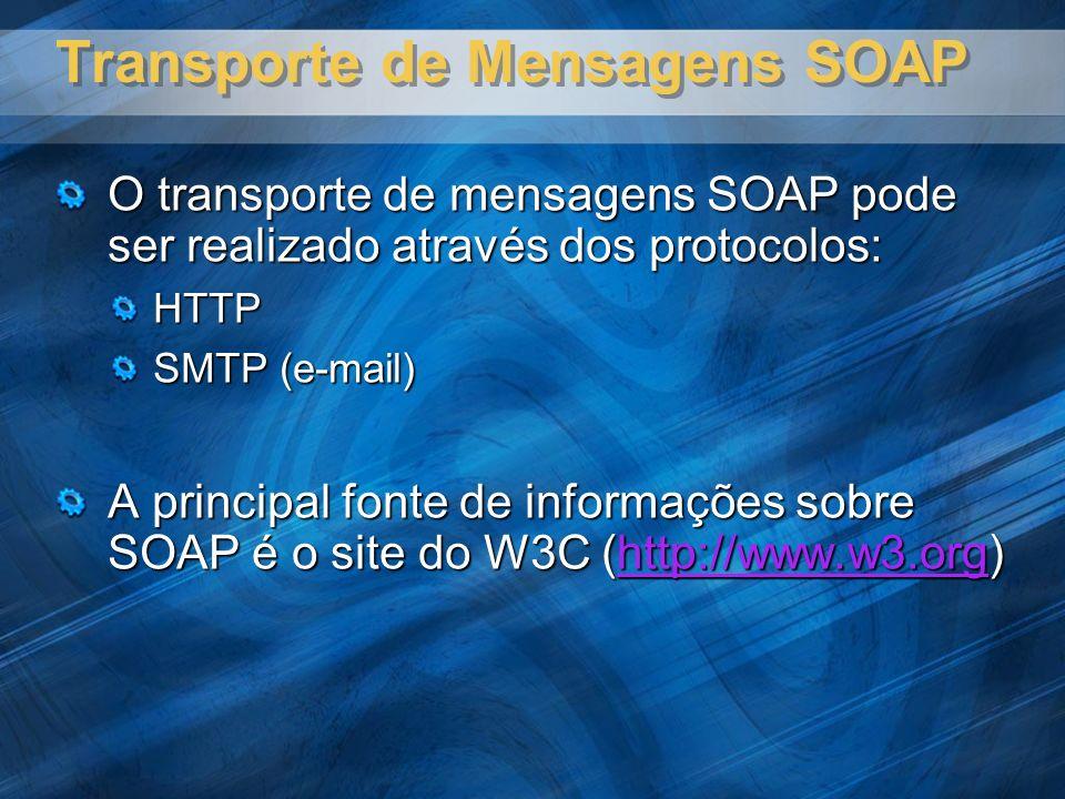Transporte de Mensagens SOAP O transporte de mensagens SOAP pode ser realizado através dos protocolos: HTTP SMTP (e-mail) A principal fonte de informações sobre SOAP é o site do W3C (http://www.w3.org) http://www.w3.org