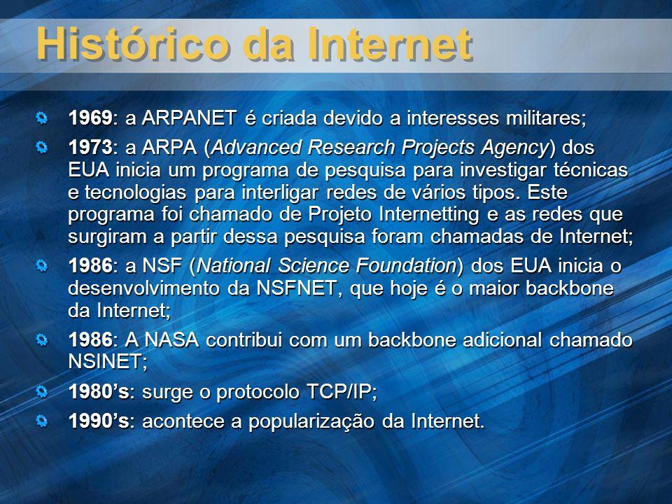 Histórico da Internet 1969: a ARPANET é criada devido a interesses militares; 1973: a ARPA (Advanced Research Projects Agency) dos EUA inicia um programa de pesquisa para investigar técnicas e tecnologias para interligar redes de vários tipos.