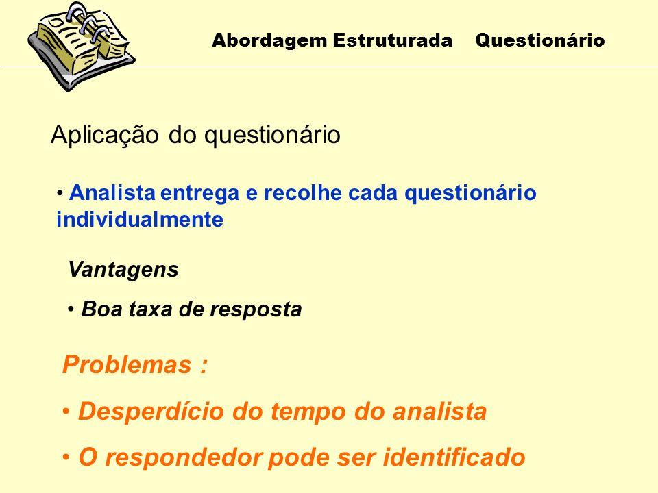 Abordagem Estruturada Questionário Aplicação do questionário Reunir todos os respondedores em um mesmo local para a aplicação do questionário Vantagen