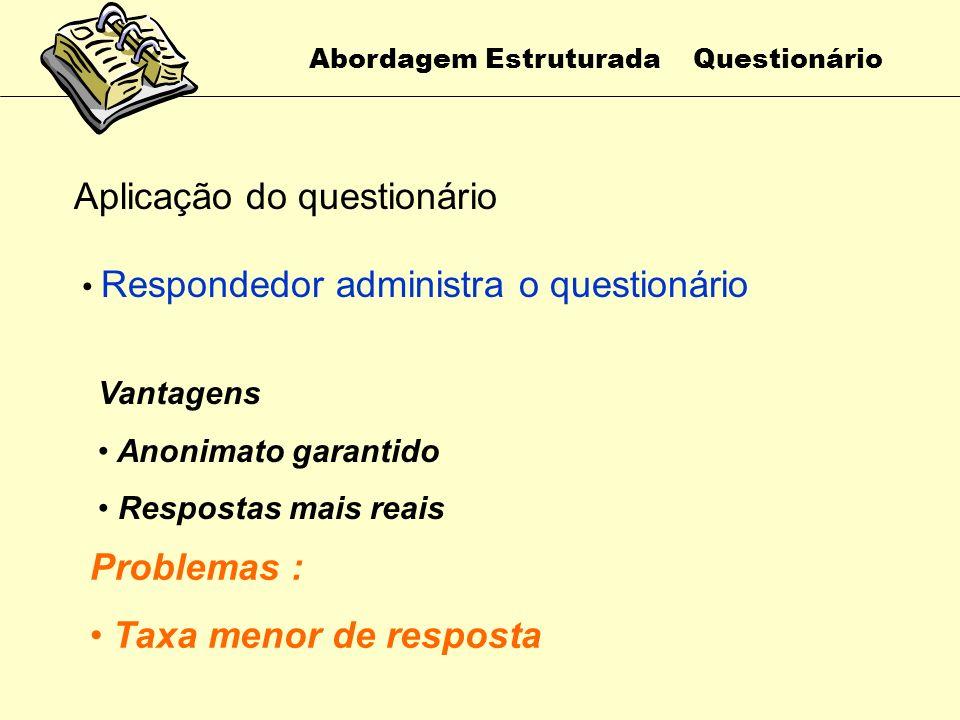 Abordagem Estruturada Questionário Aplicação do questionário Analista entrega e recolhe cada questionário individualmente Vantagens Boa taxa de respos