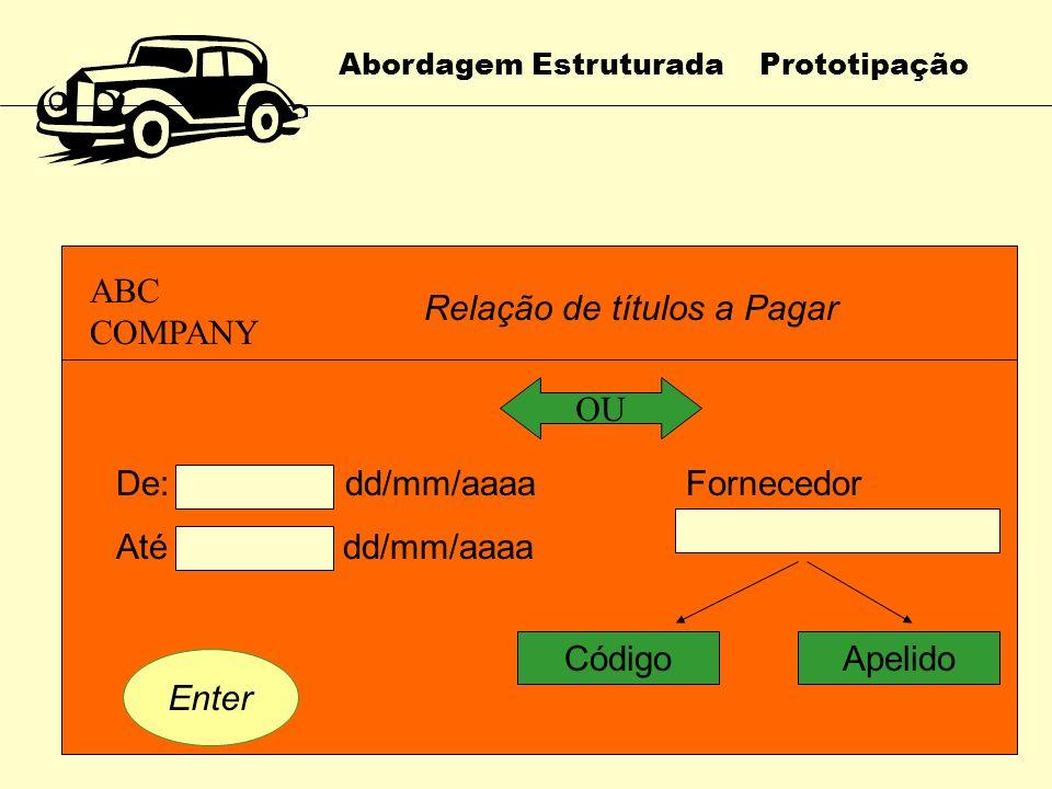 Abordagem Estruturada Prototipação Abordagem da Prototipação 1. Protótipo não Operacional Apenas as interfaces de entrada e a saída são demonstradas O