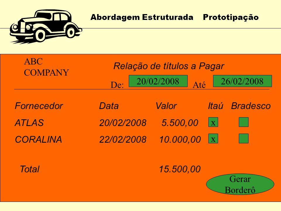 Abordagem Estruturada Prototipação ABC COMPANY Relação de títulos a Pagar De: dd/mm/aaaa Até : dd/mm/aaaa Fornecedor CódigoApelido Enter OU