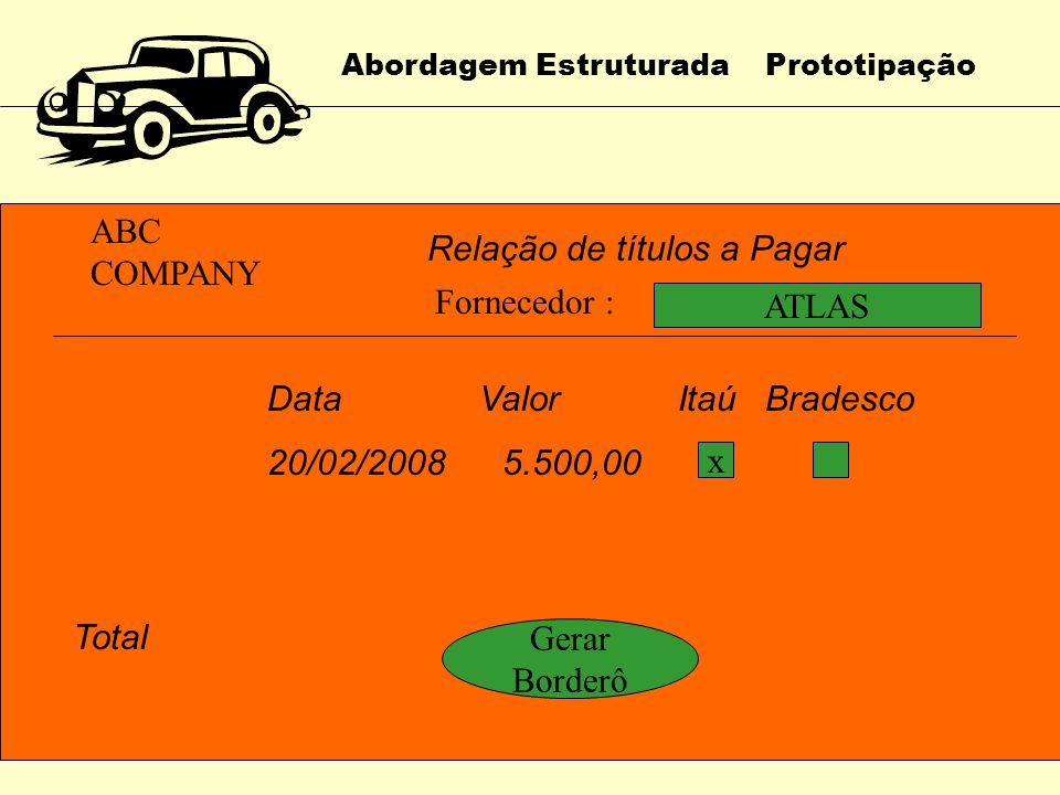 Abordagem Estruturada Prototipação ABC COMPANY Relação de títulos a Pagar FornecedorDataValor Itaú Bradesco ATLAS20/02/2008 5.500,00 CORALINA22/02/200