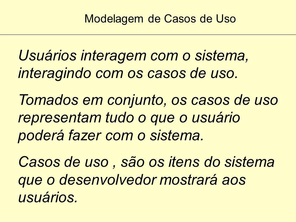 Modelagem de Casos de Uso Modelos de caso de uso (use cases) é o modelo adotado para se obter a primeira visão do sistema. Um caso de uso é uma maneir