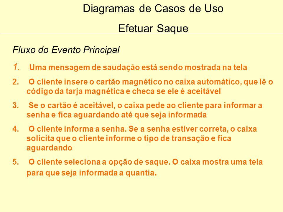 Diagramas de Casos de Uso 1.Descrever o fluxo de eventos principais Emitir Extrato Informar Saldo 2. Descrever o fluxo de eventos alternativos Emitir