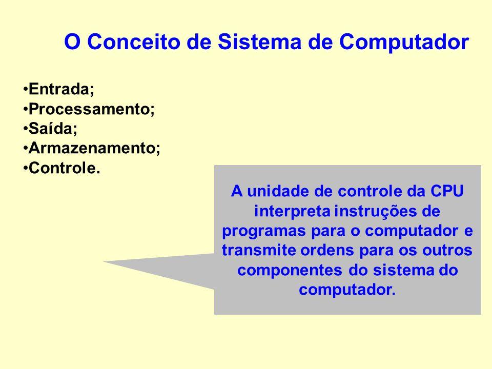 Entrada; Processamento; Saída; Armazenamento; Controle. O Conceito de Sistema de Computador Convertem as informações eletrônicas produzidas pelo siste