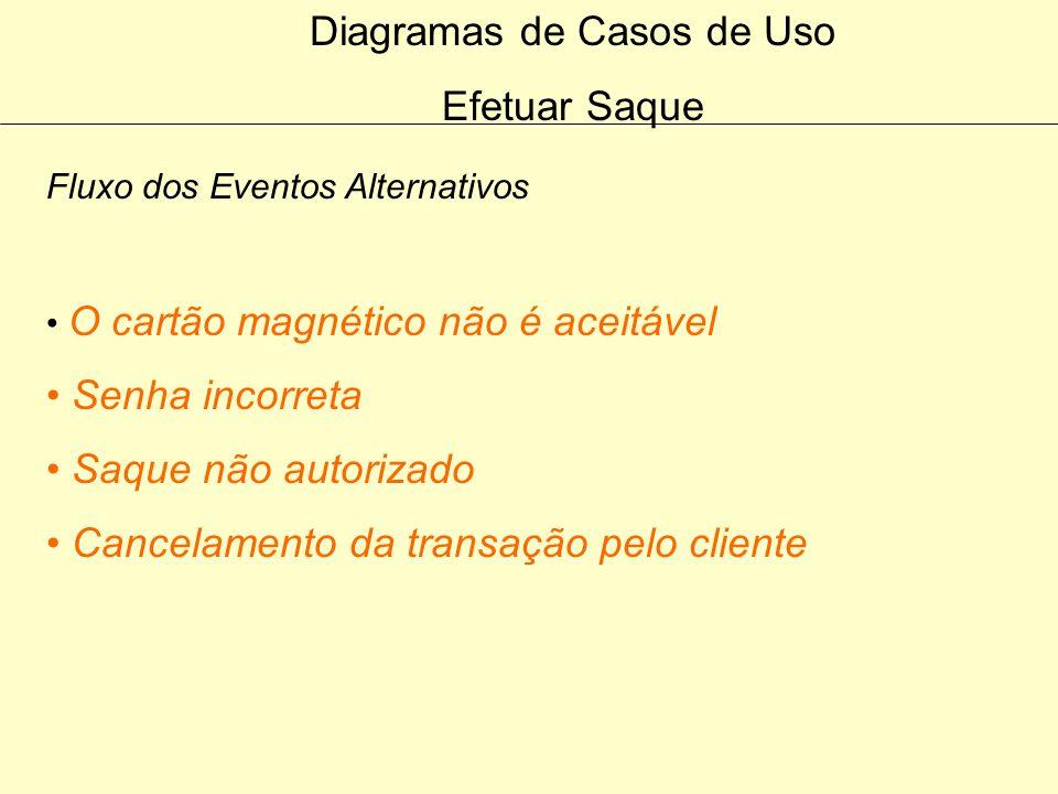 Diagramas de Casos de Uso Efetuar Saque Fluxo do Evento Principal 6. O cliente informa a quantia a ser sacada 7. O caixa envia uma requisição para o s