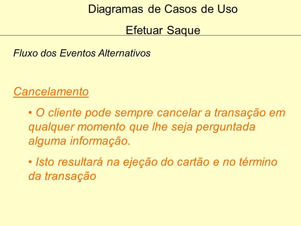 Diagramas de Casos de Uso Efetuar Saque Fluxo dos Eventos Alternativos Saque não autorizado Se o saque não for aceito pelo Sistema Bancário, uma mensa