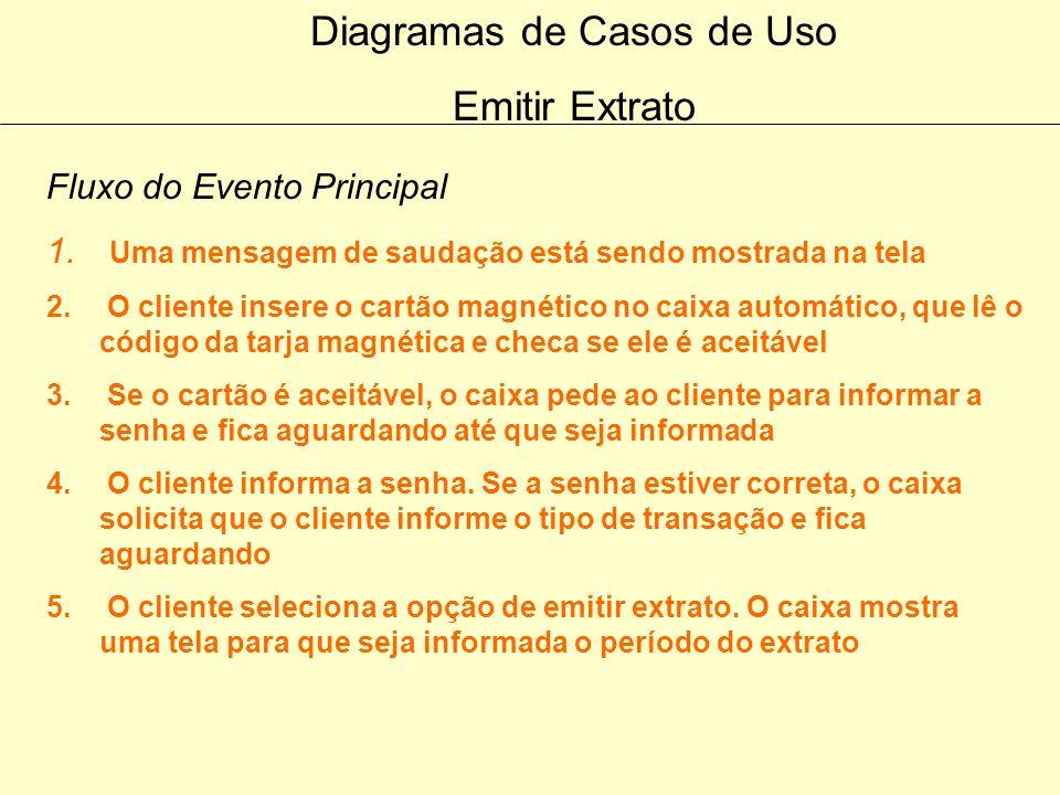 Diagramas de Casos de Uso Efetuar Saque Fluxo dos Eventos Alternativos Cancelamento O cliente pode sempre cancelar a transação em qualquer momento que
