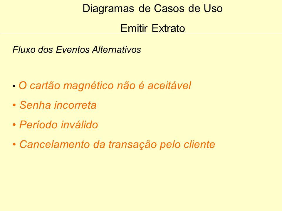 Diagramas de Casos de Uso Emitir Extrato Fluxo do Evento Principal 6. O cliente informa as datas (de / até) 7. O caixa envia uma requisição para o sis