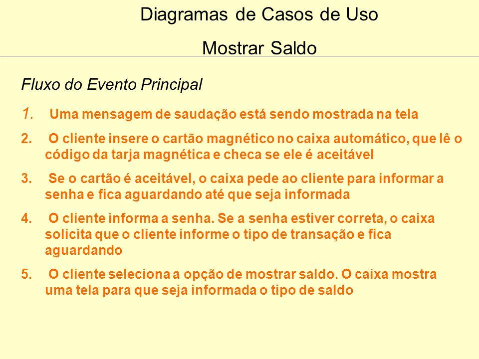 Diagramas de Casos de Uso Emitir Extrato Fluxo dos Eventos Alternativos Cancelamento O cliente pode sempre cancelar a transação em qualquer momento qu