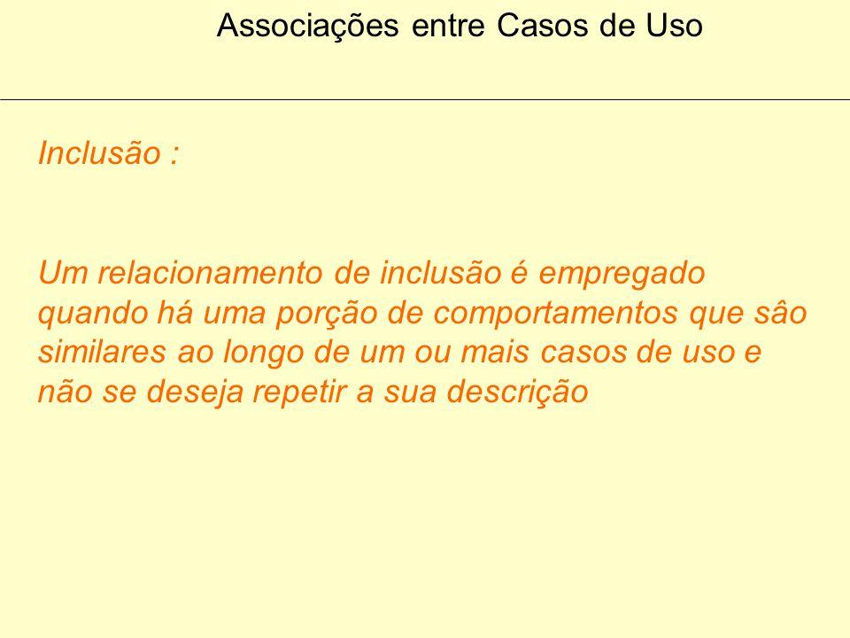 Associações entre Casos de Uso Inclusão : O caso de uso Base incorpora o comportamento de outro caso de uso O local em que esse comportamento é incluí
