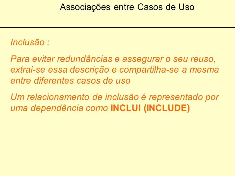 Associações entre Casos de Uso Inclusão : Um relacionamento de inclusão é empregado quando há uma porção de comportamentos que sâo similares ao longo