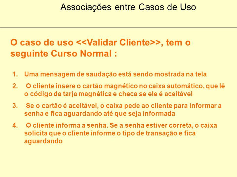 Diagramas de Casos de Uso Caixa Automático de Bancos Efetuar Saque Informar Saldo Emitir Extrato Validar Cliente >