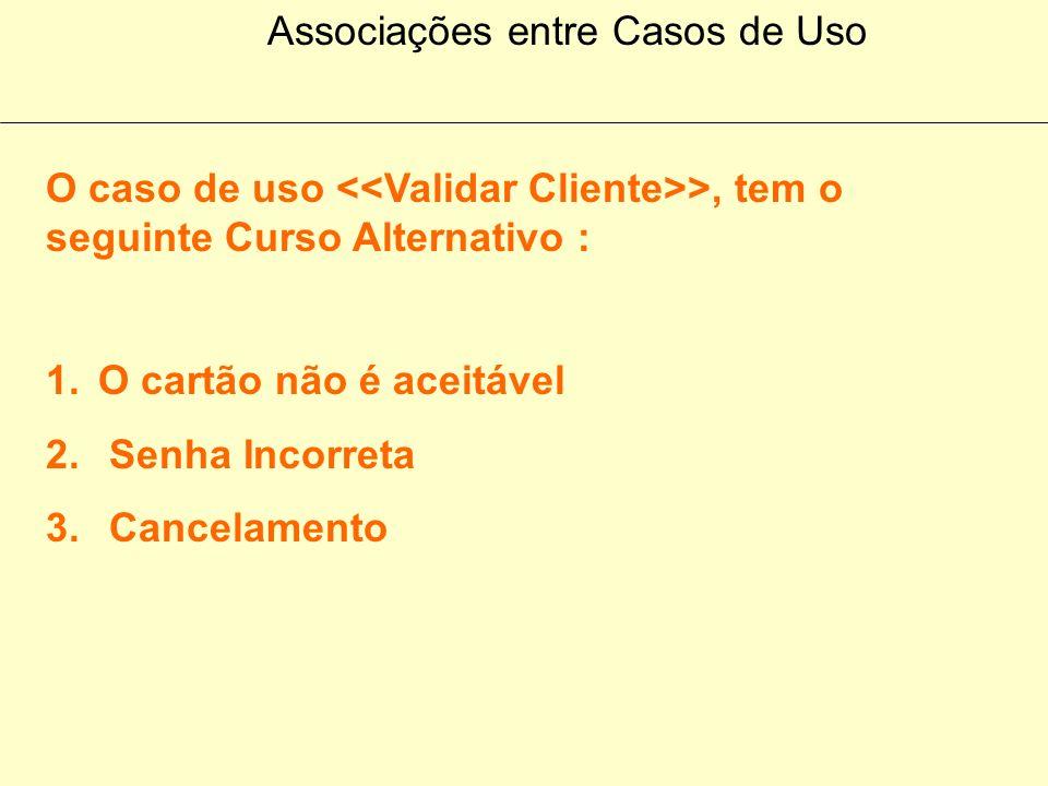 Associações entre Casos de Uso O caso de uso >, tem o seguinte Curso Normal : 1.Uma mensagem de saudação está sendo mostrada na tela 2. O cliente inse