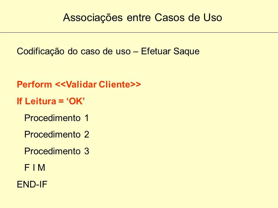 Diagramas de Casos de Uso Efetuar Saque após o Inclui(Include) Exemplo de Programação utilizando o conceito de INCLUI Leitura do arquivo de cadastro d
