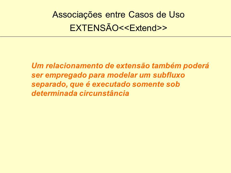 Associações entre Casos de Uso EXTENSÃO > Um relacionamento de extensão é utilizado para modelar uma parte de um caso de uso que o usuário considera o
