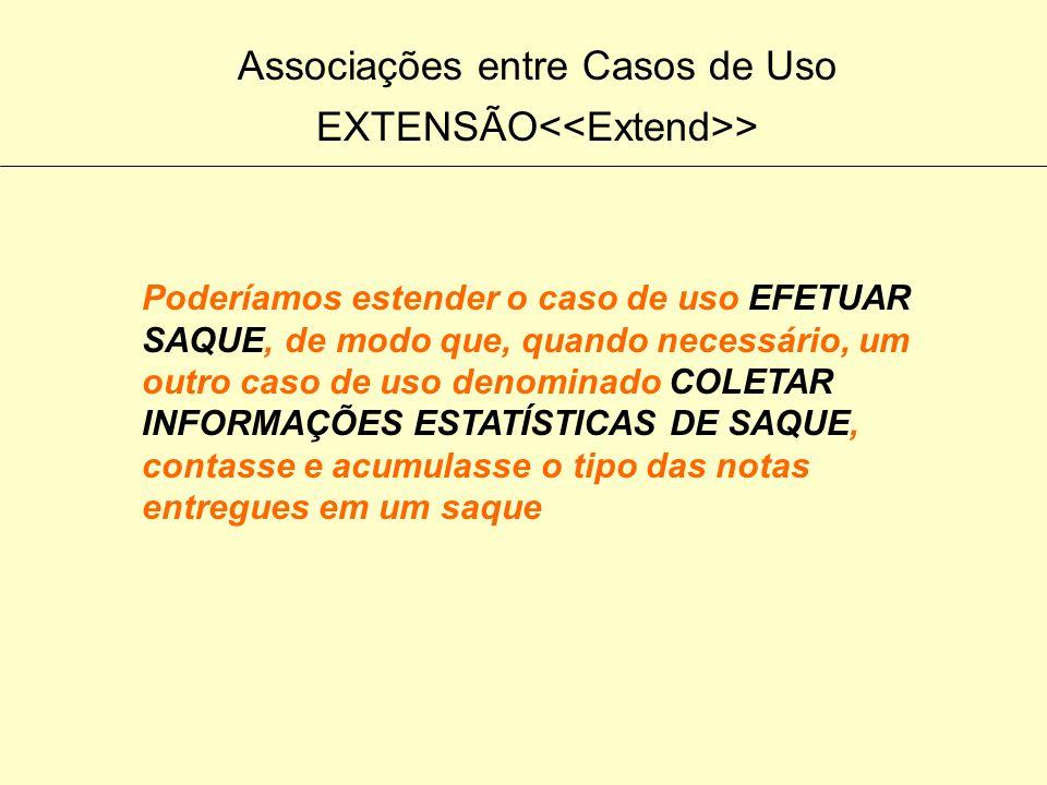 Associações entre Casos de Uso EXTENSÃO > No exemplo do caixa automático, deseja-se coletar dados estatísticos sobre o uso da transação de SAQUE para