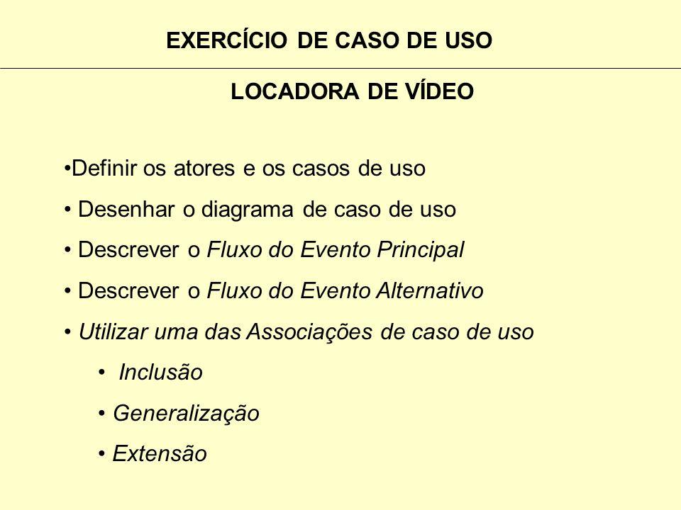 EXERCÍCIO DE CASO DE USO LOCADORA DE VÍDEO O proprietário da locadora de vídeo, necessita automatizar : Reserva da Fita do Cliente Entrega da Fita do
