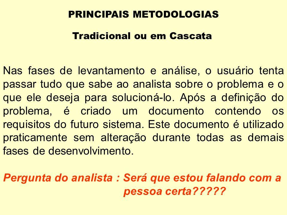 PRINCIPAIS METODOLOGIAS Tradicional ou em Cascata FASES : Levantamento Análise Projeto Codificação Documentação Testes Implementação Manutenção