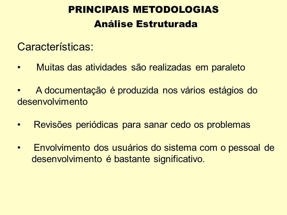 PRINCIPAIS METODOLOGIAS Análise Estruturada FASES : Levantamento Análise Projeto Implementação Planejamento dos testes Controle da qualidade Descrição