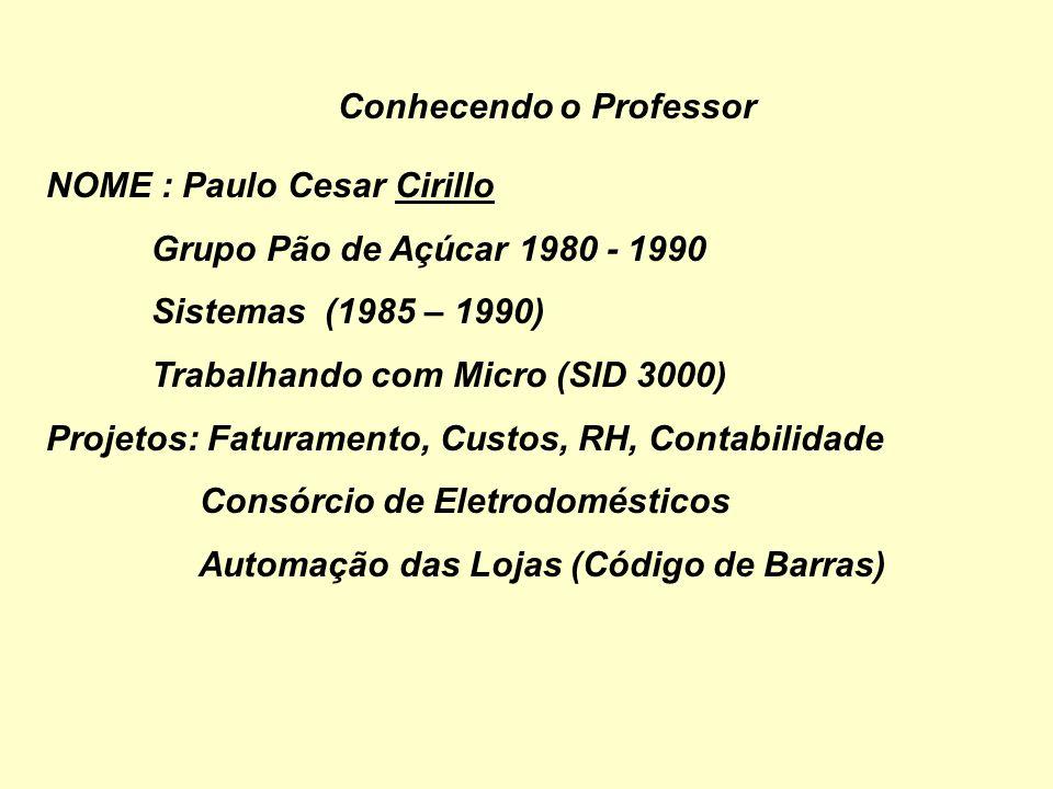 Conhecendo o Professor NOME : Paulo Cesar Cirillo Empresas : Grupo Pão de Açúcar 1980 - 1990 Área de Custos (1980 - 1984) Sistemas (1985 – 1990)