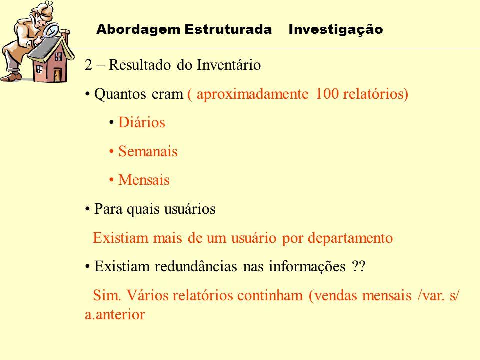 Abordagem Estruturada Investigação 1 – Inventário dos Relatórios Quantos eram Para quais usuários Quais informações continham Existiam redundâncias na