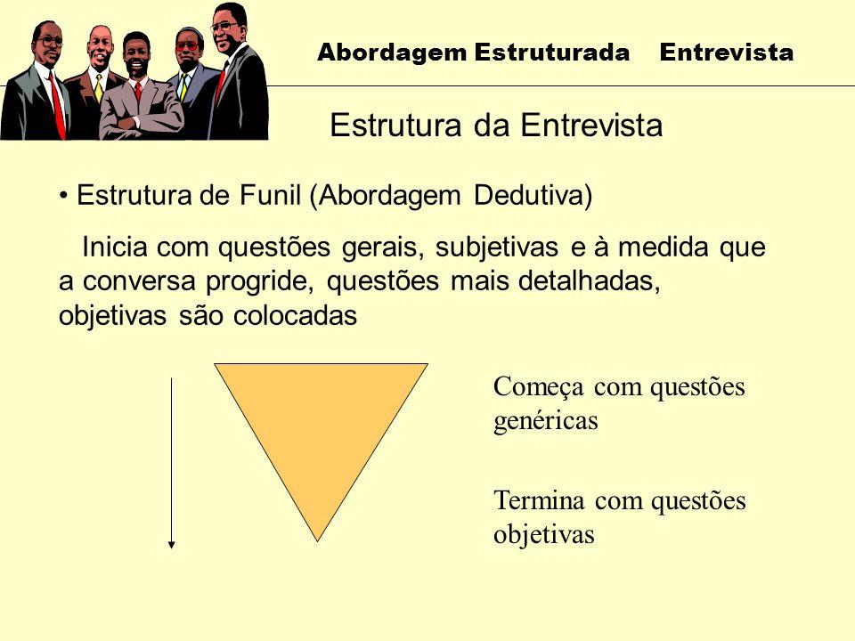 Abordagem Estruturada Entrevista Estrutura da Entrevista Organização das questões em uma sequência lógica Estrutura de Pirâmide (Abordagem Indutiva) I