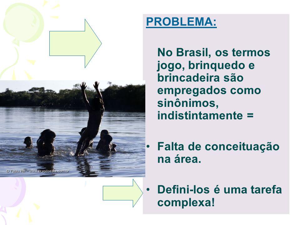 PROBLEMA: No Brasil, os termos jogo, brinquedo e brincadeira são empregados como sinônimos, indistintamente = Falta de conceituação na área. Defini-lo