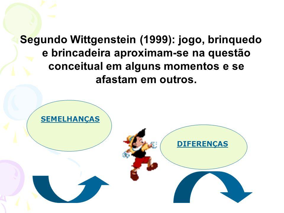 Segundo Wittgenstein (1999): jogo, brinquedo e brincadeira aproximam-se na questão conceitual em alguns momentos e se afastam em outros. SEMELHANÇAS D