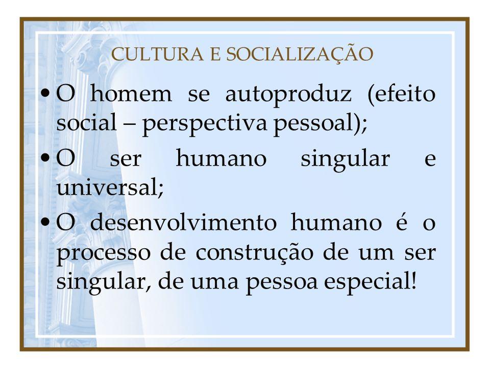 CULTURA E SOCIALIZAÇÃO O homem se autoproduz (efeito social – perspectiva pessoal); O ser humano singular e universal; O desenvolvimento humano é o pr
