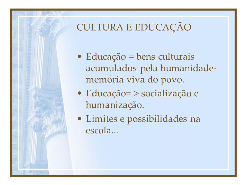 CULTURA E EDUCAÇÃO Educação = bens culturais acumulados pela humanidade- memória viva do povo. Educação= > socialização e humanização. Limites e possi