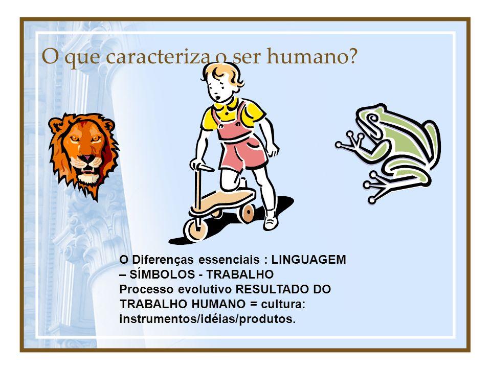 O que caracteriza o ser humano? O Diferenças essenciais : LINGUAGEM – SÍMBOLOS - TRABALHO Processo evolutivo RESULTADO DO TRABALHO HUMANO = cultura: i