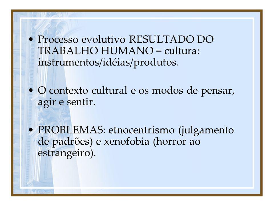 Processo evolutivo RESULTADO DO TRABALHO HUMANO = cultura: instrumentos/idéias/produtos. O contexto cultural e os modos de pensar, agir e sentir. PROB