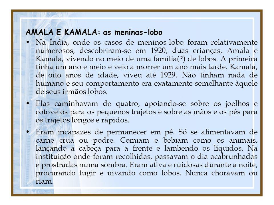 AMALA E KAMALA: as meninas-lobo Na Índia, onde os casos de meninos-lobo foram relativamente numerosos, descobriram-se em 1920, duas crianças, Amala e