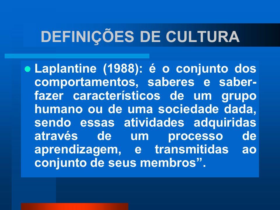 DEFINIÇÕES DE CULTURA Laplantine (1988): é o conjunto dos comportamentos, saberes e saber- fazer característicos de um grupo humano ou de uma sociedad