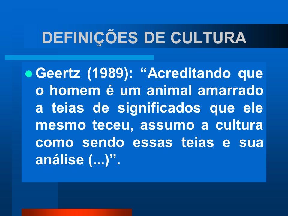 DEFINIÇÕES DE CULTURA Geertz (1989): Acreditando que o homem é um animal amarrado a teias de significados que ele mesmo teceu, assumo a cultura como s