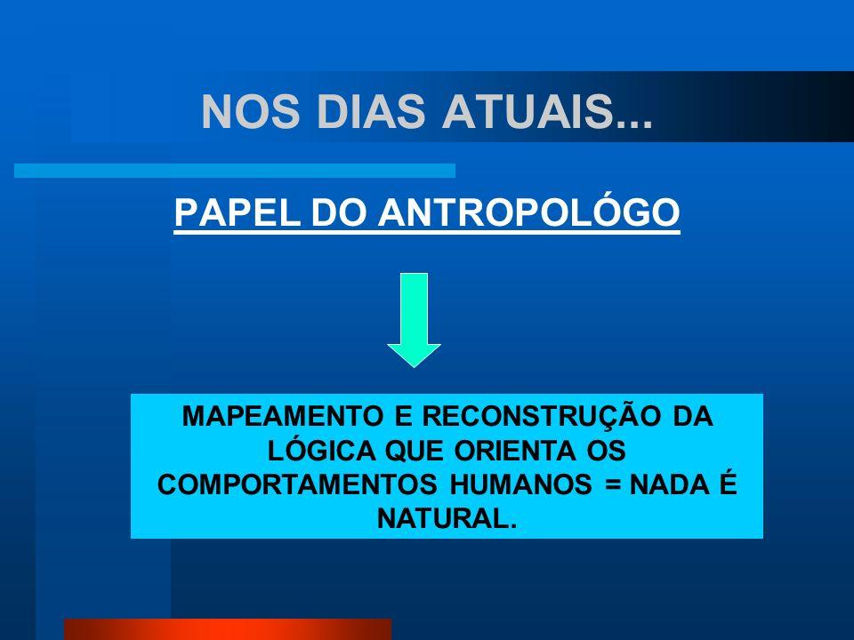 NOS DIAS ATUAIS... PAPEL DO ANTROPOLÓGO MAPEAMENTO E RECONSTRUÇÃO DA LÓGICA QUE ORIENTA OS COMPORTAMENTOS HUMANOS = NADA É NATURAL.