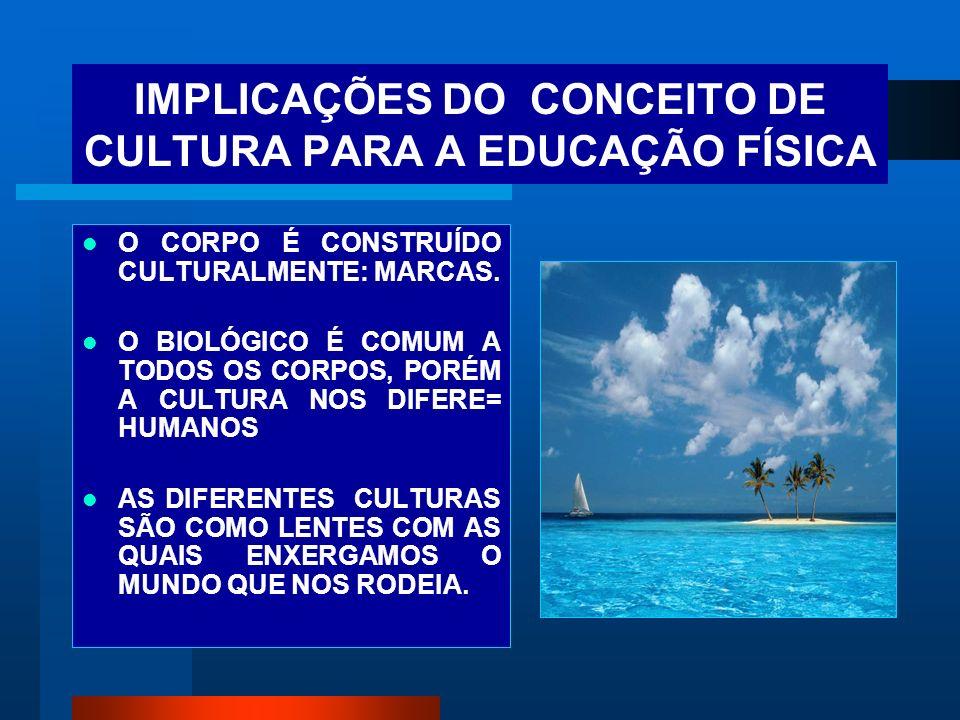 IMPLICAÇÕES DO CONCEITO DE CULTURA PARA A EDUCAÇÃO FÍSICA O CORPO É CONSTRUÍDO CULTURALMENTE: MARCAS. O BIOLÓGICO É COMUM A TODOS OS CORPOS, PORÉM A C