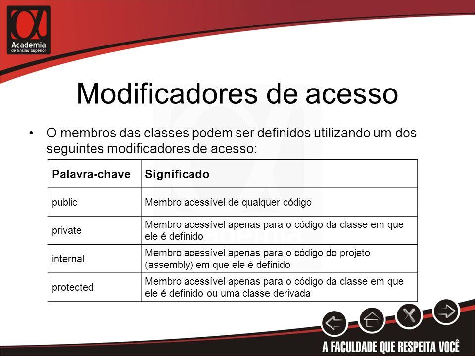 Modificadores de acesso O membros das classes podem ser definidos utilizando um dos seguintes modificadores de acesso: Palavra-chaveSignificado public