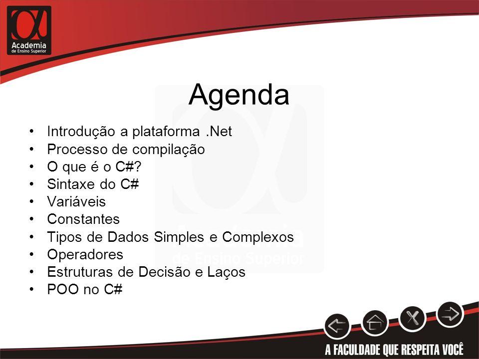 Agenda Introdução a plataforma.Net Processo de compilação O que é o C#? Sintaxe do C# Variáveis Constantes Tipos de Dados Simples e Complexos Operador